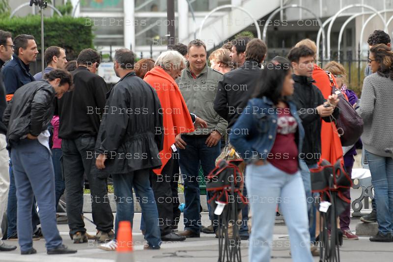 Exclusive___ Actor Gerard Darmon filming in Paris.