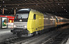 Dispolok ER20-007 is on hire to Alex as it brings coaching stock into Munchen Hbf. on 15 April 2011