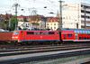 DB 111.227 arrives at Wurzburg Hbf with a double deck set on 17 April 2011