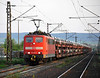 DB 151.093 and a long load of cars approaches Himmelstadt on 20 April 2011