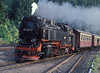 DR 99.7235 enters Eisfelder-Tahmuhle with train 14416, Nordhausen to Hasselfelde on 25 July 1990