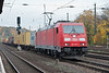 A container train heads south behind DB 185-395
