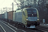 Wearing a 'BoxXpress' livery Dispolok ES64U2 039 heads towards the docks at Hamburg Harburg on 8 March 2006
