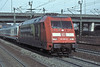 Special-liveried DB 101.080 heads an IC service through Hamburg Harburg on 8 March 2006