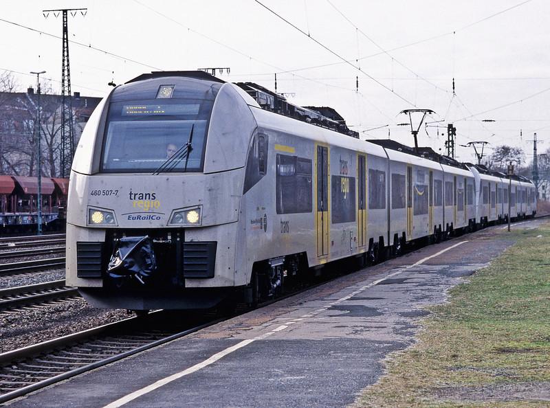 Heading to Koln Messe station a TransRegio service from Mainz is headed by 460.507