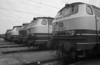 An early morning line-up at Lehrte on 29 April 1990 sees five DB Class 216 locos stabled - from the camera 216.094/179/200/161 and 168