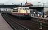 The passengers get ready to leap onboard as DB 103.236 runs into Hamburg Harburg with a southbound IC on 25 October 1988