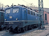 DB 110.173 is seen in the old blue livery at Bw Wurzburg 0n 30 January 1989