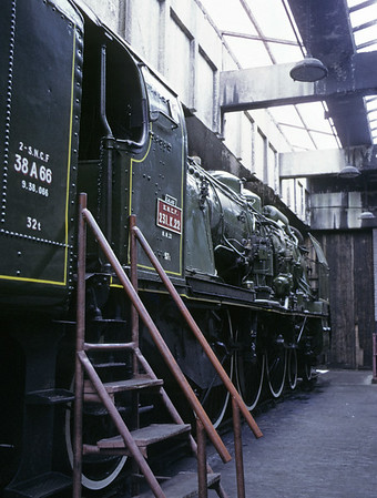 SNCF 4-6-2 231 K 22, Carnforth Steamtown, 9 June 1973.  The French Pacific is a four cylinder compound. It was built in 1916 by Chantiers de la Loire for the Paris Lyons Mediterranean Rly, and rebuilt in 1948. It finished its career at Calais on the SNCF's Northern region. It was one of the last steam locos to haul the Golder Arrow (Fleche d'Or) between Amiens and Calais. It came to Carnforth in 1970.  Photo by Les Tindall.