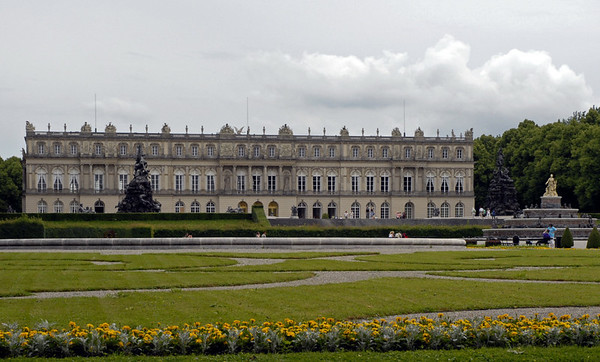 Herrenchiemsee palace, Bavaria, 30 June 2006 1.  Here are four views of this palace, begun by King Ludwig II of Bavaria in 1878 but never completed.  It is a replica of Versailles, as Ludwig greatly admired its builder, King Louis XIV of France (The 'Sun King').