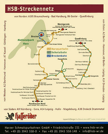 Harzer Schmalspurbahnen (HSB) system map.  This photo collection covers a journey from Wernigerode over the Selketalbahn to Quedlinburg via Eisfelder Talmuhle, Stiege, Alexisbad, the Harzgerode branch and Gernrode.  The Hasselfelde branch was closed at the time of my visit for track renewal.