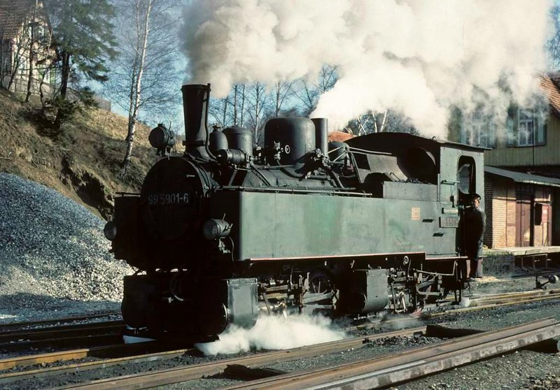 Deutsche Reichsbahn 99 5901, Strassberg, Sat 12 February 1977. The Mallet runs round its train.  Photo by Les Tindall.
