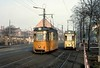 Tramcars 41 & 44, Nordhausen, Sat 12 February 1977.  Passing at the halfway loop on the Altentor branch.  Photo by Les Tindall.