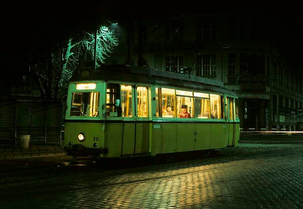 Tramcar No 30, Nordhausen, Fri 11 February 1977.  The metre gauge tram was built by Werdau in 1951.  It is seen in Arnoldstrasse waiting to leave for Altentor.  Photo by Les Tindall.