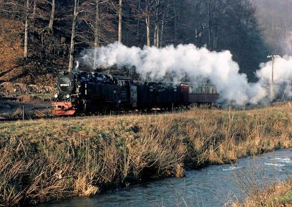 Deutsche Reichsbahn 99 7245, near Netzkater, Sat 12 February 1977 2.  Photo by Les Tindall.