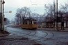 Tramcar No 41, Nordhausen, Sat 12 February 1977.  The metre gauge tram was built by Gotha in 1959(?).  It is seen in Arnoldstrasse waiting to leave for Altentor, 1.5km away.  Photo by Les Tindall.