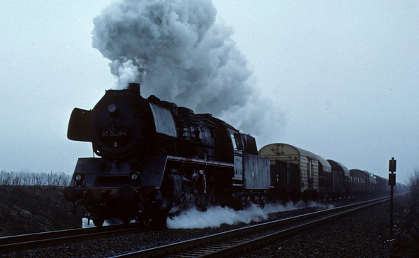 Deutsche Reichsbahn 50 0029, near Danewitz, Sun 13 February 1977.  The 2-10-0 heads a freight train towards east Berlin on the main line from Stralsund and Szczecin.  Photo by Les Tindall.