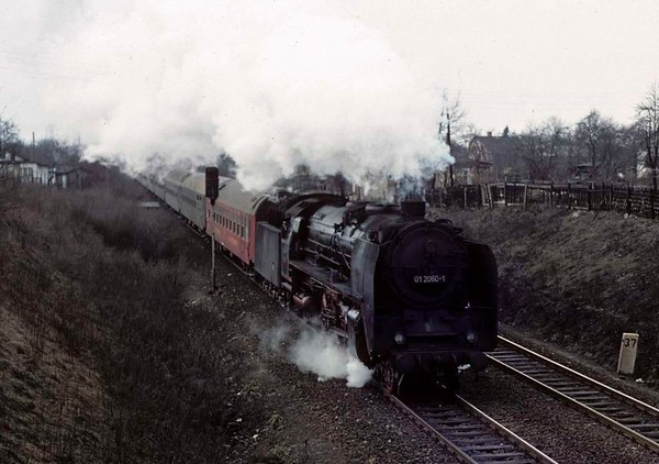 Deutsche Reichsbahn 01 2050, east Berlin ring line, Fri 11 February 1977.  The 01 Pacific was working the 0923 from Dresden.  Photo by Les Tindall.