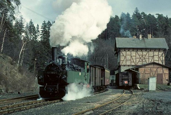 Deutsche Reichsbahn 99 5903, leaving Magdesprung, Sat 12 February 1977.  Here are six photos of 5903 between Magdesprung and Silberhutte. Photo by Les Tindall.