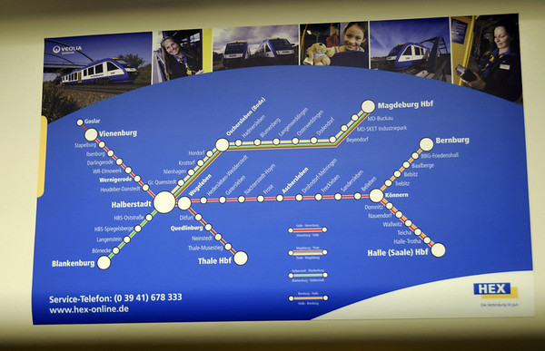 HEX (Harz Elbe Express) network diagram, Class 648 DMU, Fri 11 February 2011.    Rubeland steam runs at weekends over the freight only line from Blankenburg (geographically east of Wernigerode) to Rubeland (south of Wernigerode).  Parts of the line are as steep as 6%, and were once fitted with the Abt rack system.