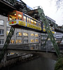 Schwebebahn, Wuppertal, Thurs 3 February 2011 - 0857    A last look at this unique railway as an eastbound service runs above the River Wupper.  The Schwebebahn opened in 1903, and has recently been extensively modernised for its second century of service.