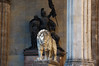 An impressive lion in Odeonsplatz in Munich.