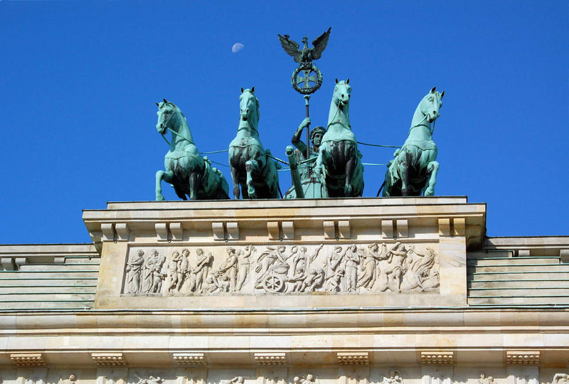 Sculpture on top of Brandenburg Gate (and moon).