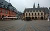 Goslar Marktplatz on a grey day,Hotel Kaiserwort  on the left, Rathaus on the right