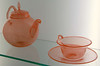 1930's teapot and cup in glass museum in Lauscha