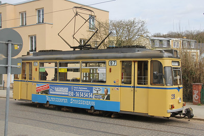 Woltersdorfer Strassenbahn 28 Schleusenstrasse Walterdorf_from cafe Apr 16
