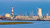 Industrial facilities at dusk in the port of Warnemunde, Rostock, Germany, Europe.