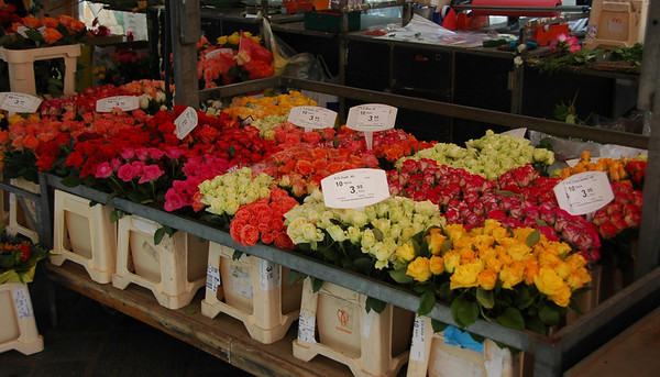Roses for sale at the market.