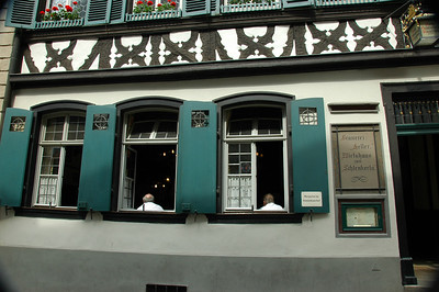 "The famous Schlenkerla Tavern.  Home of ""Aecht Schlenkerla Rauchbier"" since 1678."