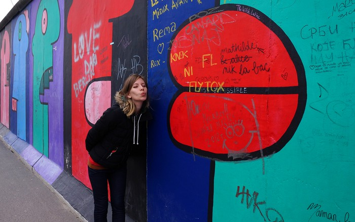 Street art by Thierry Noir on the East Side Gallery.