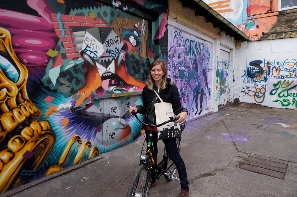 Audrey Bergner riding a bicycle around Berlin, Germany