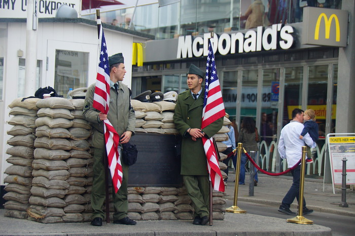Checkpoint Charlie with good ol' McDonald's in the background.