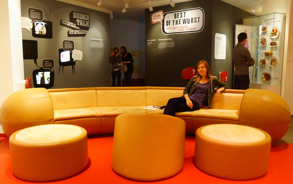 Audrey Bergner hanging out at the Currywurst Museum in Berlin, Germany