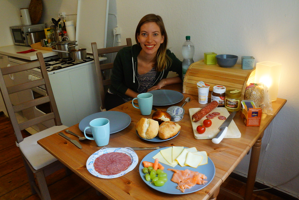 Audrey Bergner eating a German Breakfast