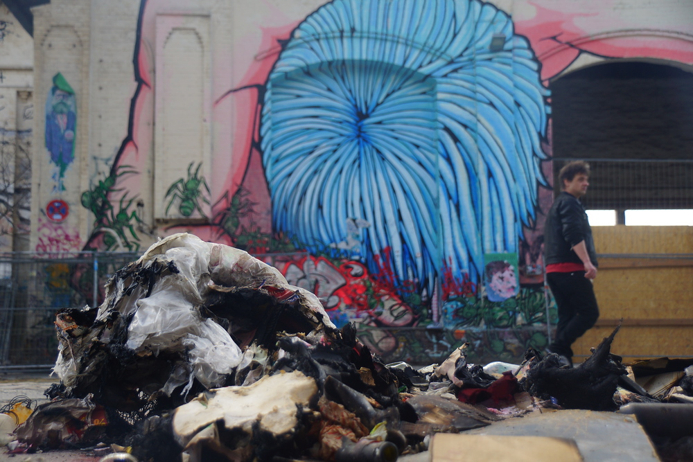 Street art and a pile of rubbish in Friedrichshain Berlin