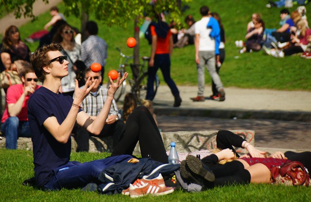 Man juggling balls at Mauerpark in Berlin, Germany