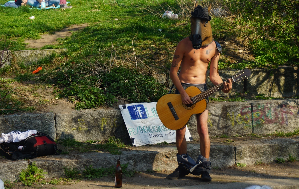 This half naked man with pants down wearing a horse head was the most provocative musical performances I noticed ;)