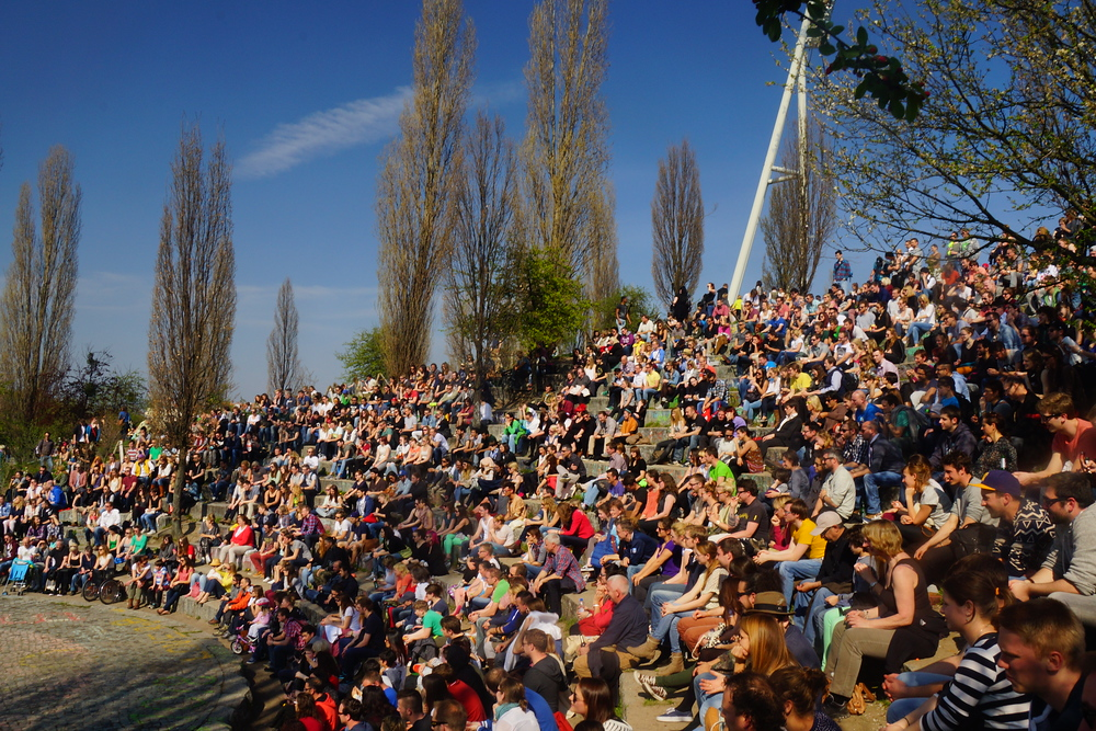 Here is the pit with a massive crowd prior to a live performance taking place.