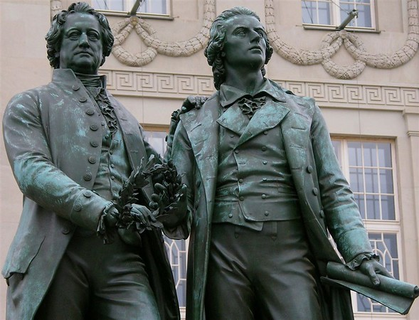 Goethe - Schiller monument, Weimar, 27 June 2004 1.  Weimar has been a centre of German high culture since the two writers lived there in the 18th century.