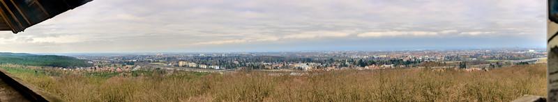 """Pano von Fürth, von der Alten Veste (""""Burg Berch"""") in Zirndorf"""