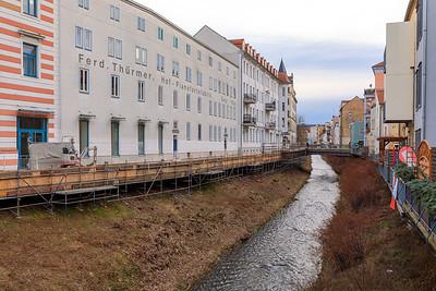 Die Triebisch von der Martinsbrücke kurz vor der Mündung in die ELbe, Meißen
