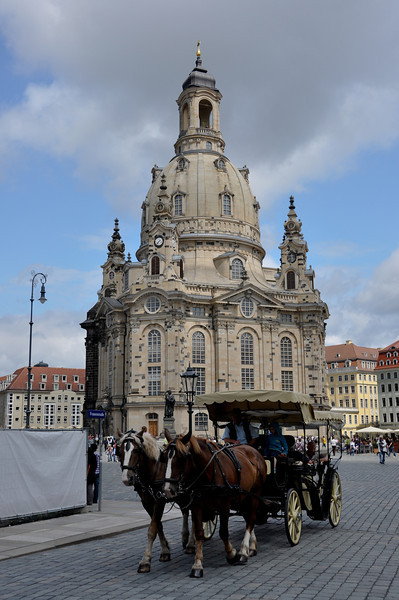 Dresdner Frauenkirche was basically destroyed in 1945 by allied bombs. Günter Blobel, a German-born American won the Nobel Prize for medicine in 1999 and donated his entire winnings to rebuilding this church.