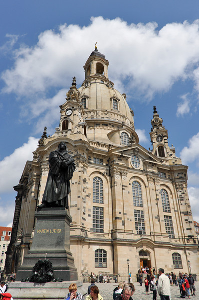 Dresdner Frauenkirche (Church of Our Lad). Nice statue of the head of the protestant church Martin Luther.