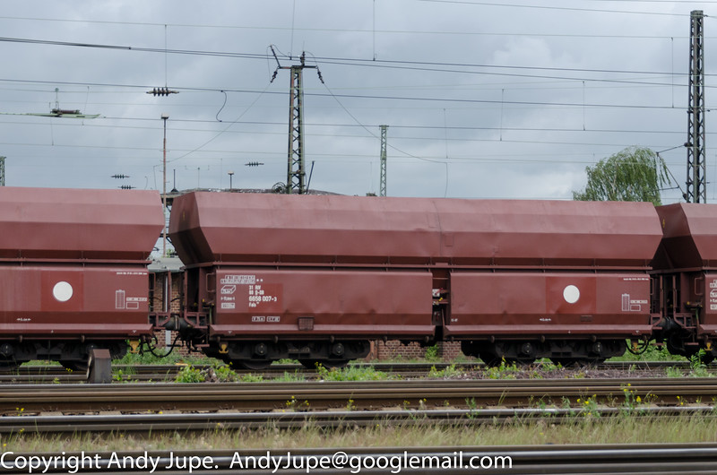 With just a filled ring symbol on the right hand side we have German registered Fals wagon, number 31 80 6658 007-3 passing signal boxes at Oberhausen Mathilde (D) on the 9th of May 2014