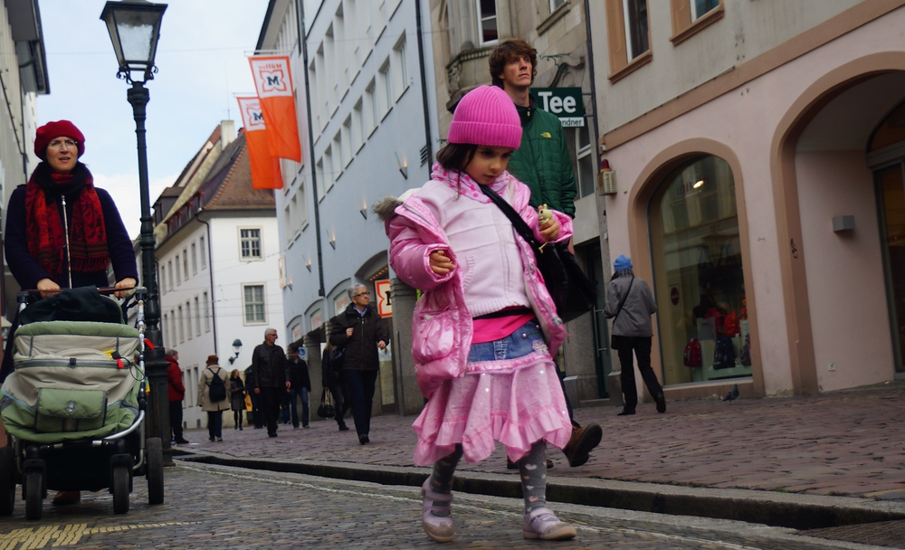 This cute little girl was wearing decked out all in pink.