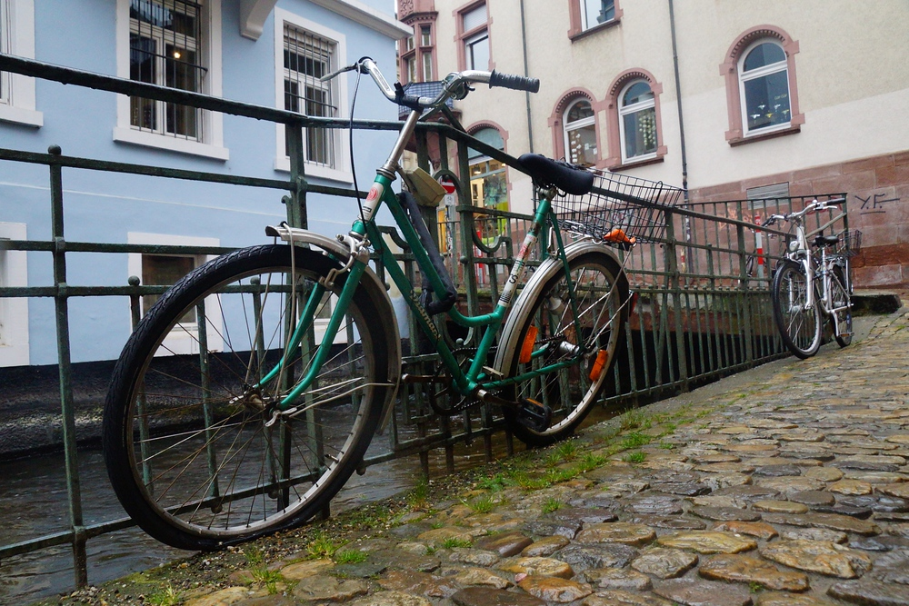 Bicycles parked alongside the canal. Like other cities I've visited in Germany, Freiburg is very pedestrian and bicycle friendly. I wish more countries were this progressive.